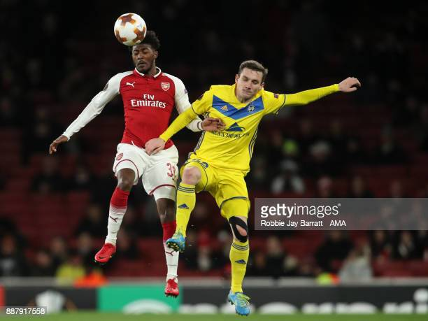 Ainsley MaitlandNiles of Arsenal and Mikhail Gordeichuk of Bate Borisov during the UEFA Europa League group H match between Arsenal FC and BATE...