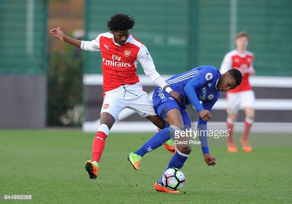 Ainsley MaitlandNiles of Arsenal challenges Dujon Sterling of Chelsea during the match between Arsenal U23 and Chelsea U23 at London Colney on...