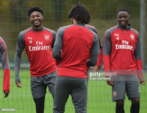 Ainsley MaitlandNiles of Arsenal during a training session at London Colney on October 23 2017 in St Albans England