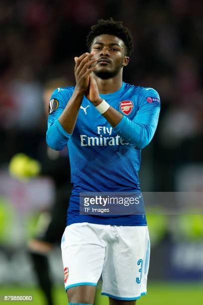 Ainsley MaitlandNiles of Arsenal looks on during the UEFA Europa League Group H soccer match between 1FC Cologne and Arsenal FC at the RheinEnergie...