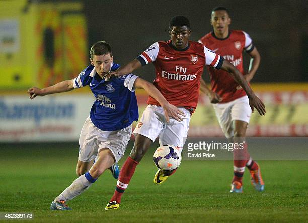 Ainsley MaitlandNiles of Arsenal takes on Joe Williams of Everton during the match between Everton and Arsenal in the Barclays Premier U21 League on...