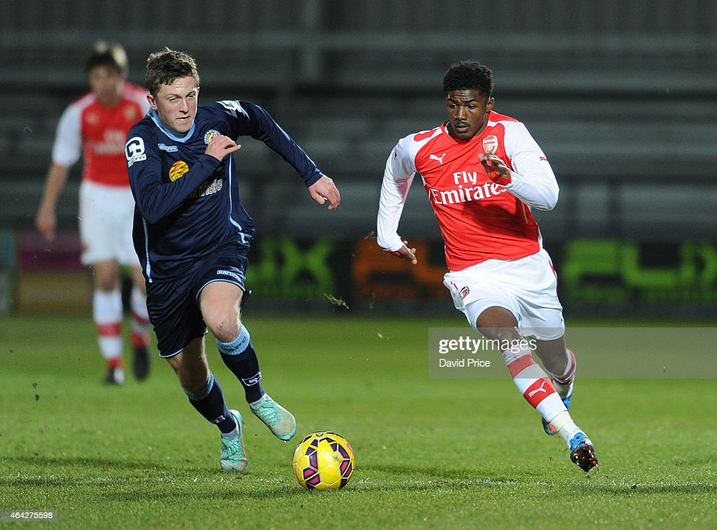 Ainsley MaitlandNiles of Arsenal takes on Oliver Finney of Crewe during the match between Arsenal U18 and Crewe Alexandra U18 in the FA Youth Cup 5th...