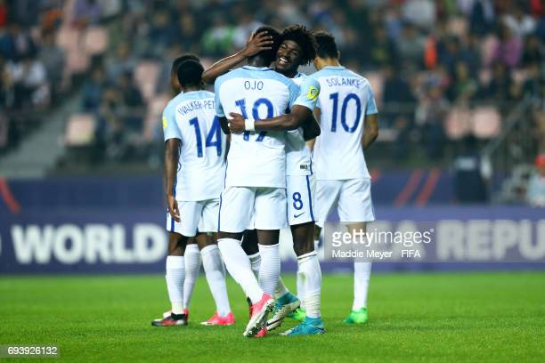 Ainsley MaitlandNiles of England celebrates with Sheyi Ojo during the FIFA U20 World Cup Korea Republic 2017 Semi Final match between Italy and...