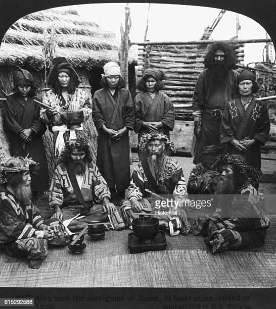 Ainu Aborigines of Japan in Feast Costume