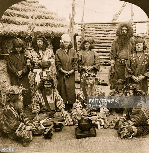 Ainu men the aborigines of Japan in feast attire Island of Yezo The Äynu are a people native to the Xinjiang region of western China There are...