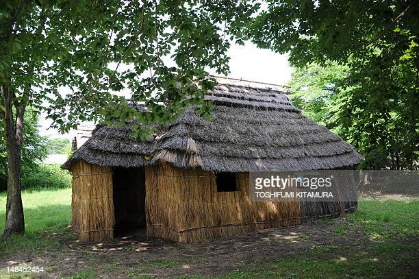 Ainu people's traditional houses called 'Chise' in Ainu language are rebuilt and displayed at the Hiratori Ainu Culture Museum on July 11 2012 Ainu...