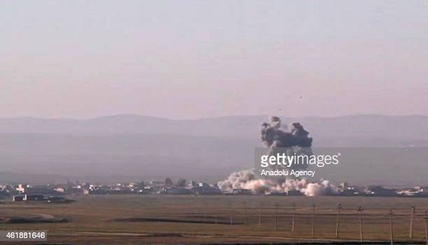 Air attacks are staged by coalition forces to Islamic State of Iraq and the Levant militants in Vane 30 kilometers north of Mosul Iraq on January 20...