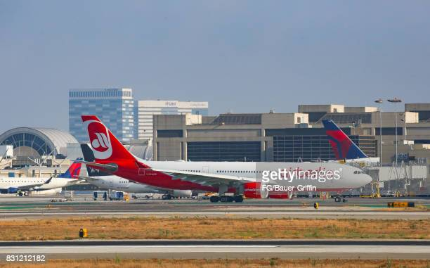 Air Berlin Airbus A330 takes off from Los Angeles international Airport on August 13 2017 in Los Angeles California
