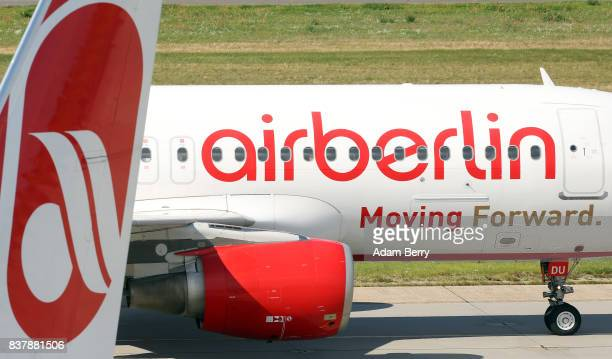 Air Berlin airplanes are seen on the tarmac at Tegel Airport on August 23 2017 in Berlin Germany Air Berlin's creditors are meeting to discuss...