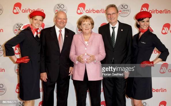 Air Berlin CEO Joachim Hunold chancellor Angela Merkel and Johannes Zurnieden attend the Air Berlin 30th Birthday Party at Estrel Hotel on April 28...