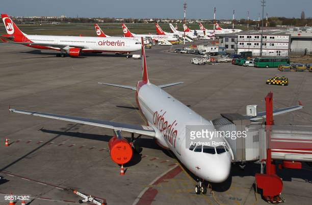 Air Berlin planes stand on the airfield at the BerlinTegel Airport on April 17 2010 in Berlin Germany The airport was closed due to the cloud of...