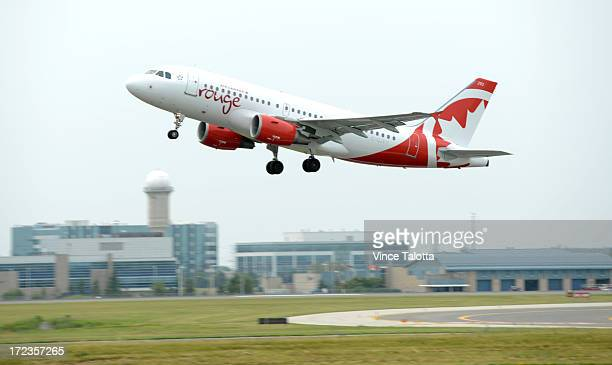 Air Canada Rouge Airbus A319 takes its inaugural flight on Canada Day at Pearson International Airport