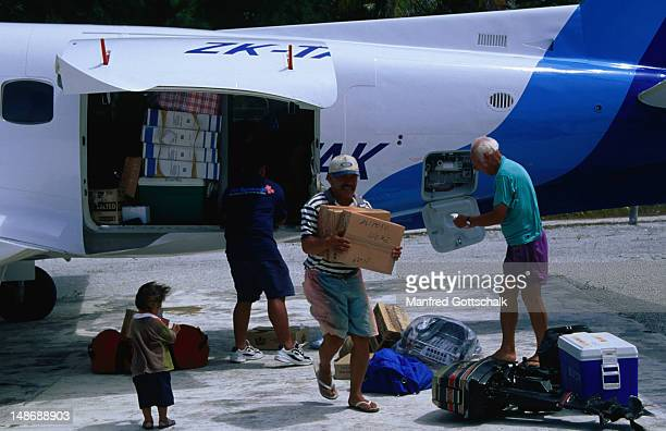 Air cargo delivery for the isolated communities of Mitiaro Island.