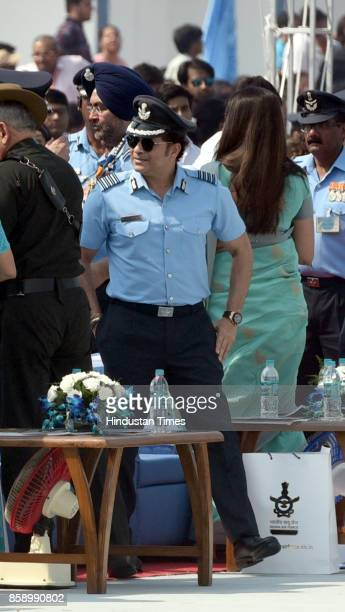 Air Chief Marshal BS Dhanoa and Sachin Tendulkar on the 85th anniversary of Indian Air Force at Hindon Air Base on October 8 2017 in Ghaziabad India...