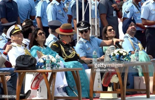 Air Chief Marshal BS Dhanoa Sachin Tendulkar Army Chief Bipin Rawat on the 85th anniversary of Indian Air Force at Hindon Air Base on October 8 2017...