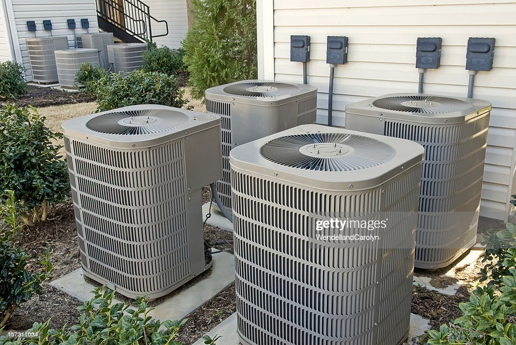 air conditioning units in a multifamily apartment building