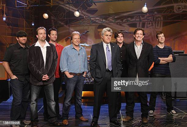 LENO Air Date 04/07/08 Episode 3530 Pictured Edgar Hansen Sig Hansen of 'Deadliest Catch' host Jay Leno and actor Thomas Haden Church surrounded by...