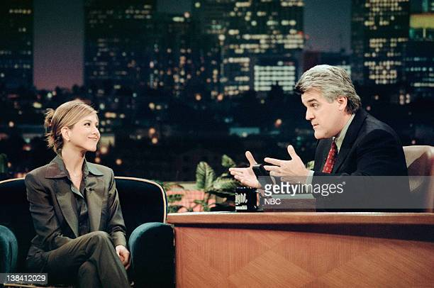 LENO Air Date Episode 1360 Pictured Actress Jennifer Aniston during an interview with host Jay Leno on April 17 1998
