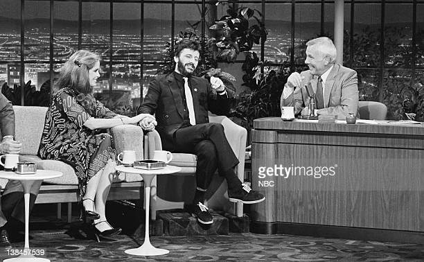 CARSON Air Date Pictured Actress Barbara Bach with husband musician Ringo Starr during an interview with host Johnny Carson on May 6 1981