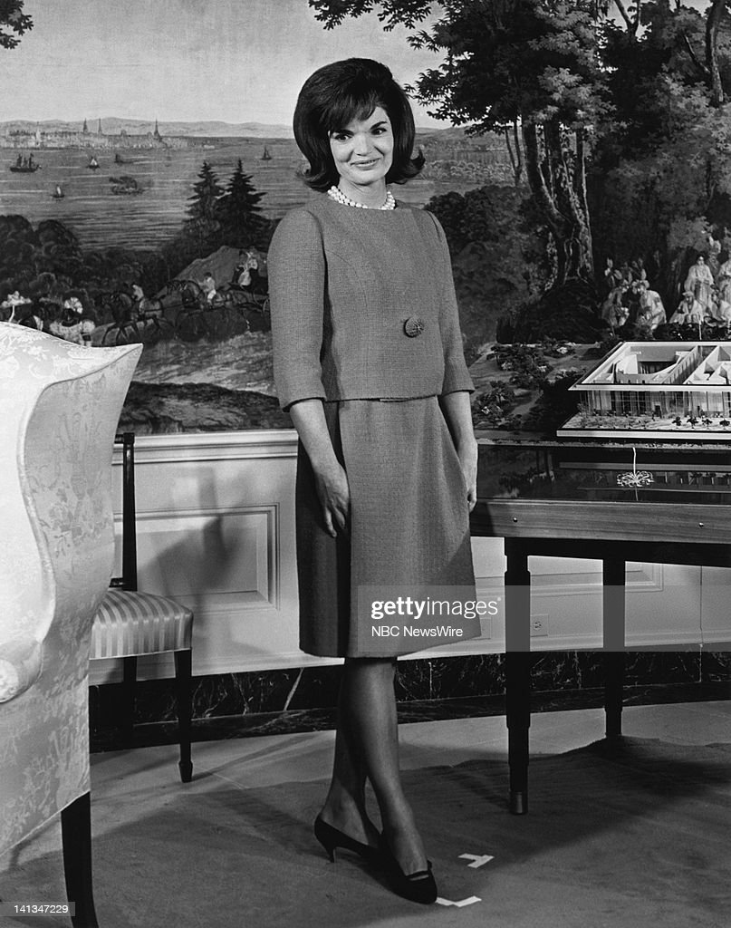 KENNEDY -- Air Date -- Pictured: (l-r) First Lady <a gi-track='captionPersonalityLinkClicked' href=/galleries/search?phrase=Jacqueline+Kennedy&family=editorial&specificpeople=70028 ng-click='$event.stopPropagation()'>Jacqueline Kennedy</a> discussing plans for the new National Culture Center (later renamed The Kennedy Center) in the Diplomatic Reception Room of the White House on November 5, 1962 -- Photo by: Art Selby/NBC NewsWire
