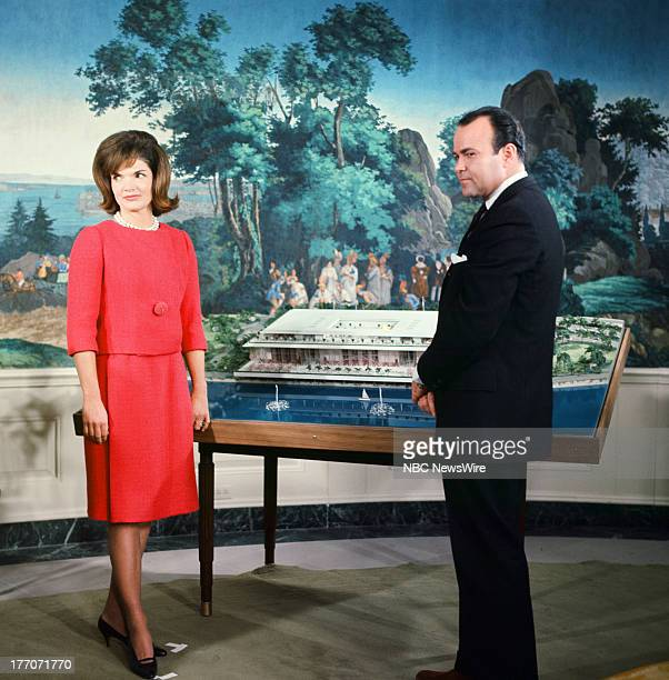 KENNEDY Air Date Pictured First Lady Jacqueline Kennedy NBC News' Sander Vanocur discussing plans for the new National Culture Center in the...