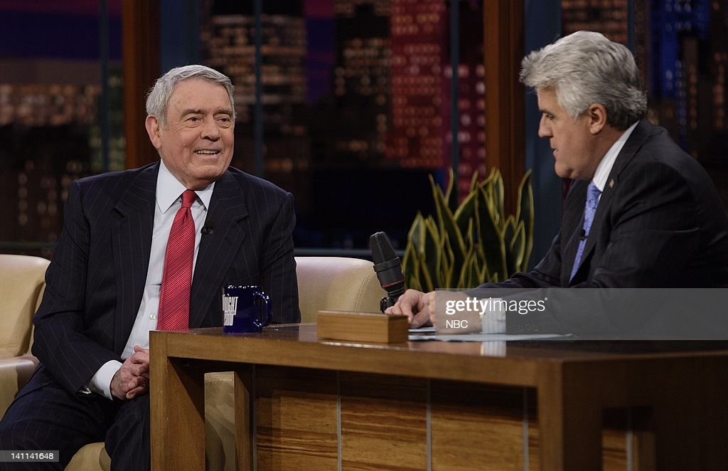 LENO -- Air Date 2/4/08 -- Episode 3490 -- Pictured: (l-r) News anchor Dan Rather during an interview with host <a gi-track='captionPersonalityLinkClicked' href=/galleries/search?phrase=Jay+Leno+-+Television+Host&family=editorial&specificpeople=156431 ng-click='$event.stopPropagation()'>Jay Leno</a> on February 4, 2008 -- Photo by: Paul Drinkwater/NBCU Photo Bank