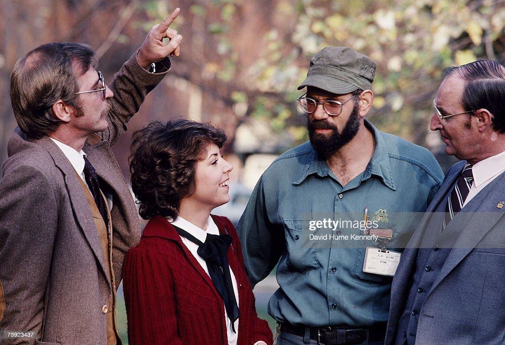 Air Florida Flight 90 crash survivors (L-R) Joseph Stiley, Patricia Felch, Roger Olian, and Bert Hamilton, pose for a photo on November 15, 1982 in Washington, DC.