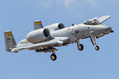 A U.S. Air Force A-10 Thunderbolt II turns on to final approach at Davis-Monthan Air Force Base, Arizona.