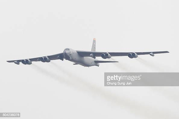 S Air Force B52 bomber flies over Osan Air Base on January 10 2016 in Pyeongtaek South Korea South Korea and the United States have deployed the B52...
