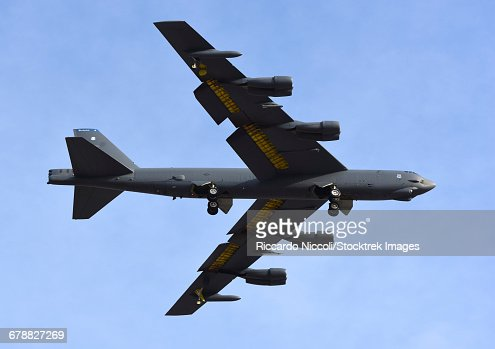 A U.S. Air Force B-52G Stratofortress prepares for landing.