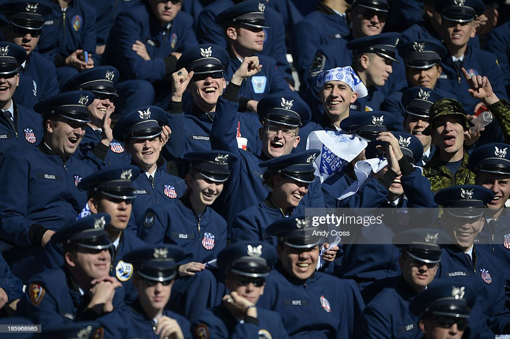 Air Force cadets have fun in the stands at Falcon Stadium before the game against Notre Dame Saturday afternoon, October 26, 2013.