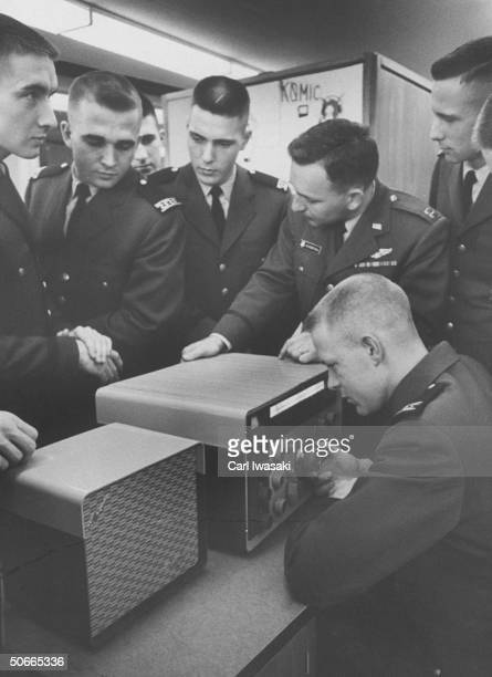 US Air Force Cadets trying to tune in to Dwight D Eisenhower's broadcast via Atlas Satellite