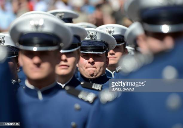 US Air Force cadets wait for US President Barack Obama to deliver the commencement address at the US Air Force Academy in Colorado Springs Colorado...