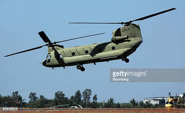 S Air force Duel roter CH47 Chinook helicopter makes a maneuver during the Aero India 2007 air show in Bangalore India on Friday Feb 9 2007