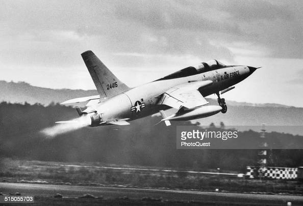 US Air Force F105F Thunderchief takes off during a demonstration flight Ramstein Germany 1964 The craft flies at more than twice the speed of sound