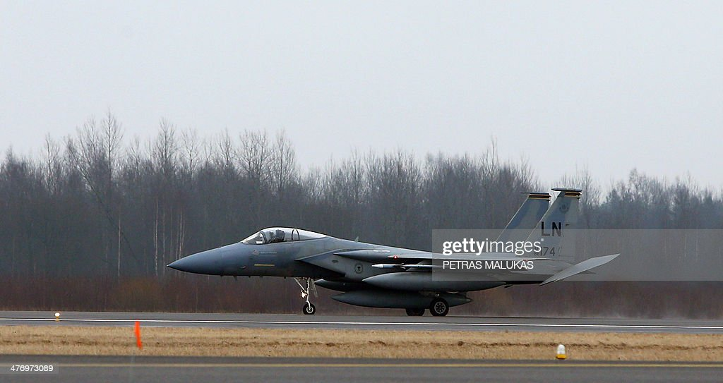 Air Force F-15C Eagle is seen at the airfield near Siauliai Zuokiniai, Lithunaia on March 6, in 2014. The United States sent six additional F-15 fighter jets to step up NATO's air patrols over the Baltic states, mission host Lithuania said as West-Russia tensions simmered over Ukraine. AFP PHOTO / PETRAS MALUKAS
