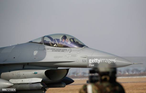 S Air Force F16 fighter jet takes part in a Vigilant air combat exercise on December 6 2017 in Pyeongtaek South Korea The largestscale warplanes and...