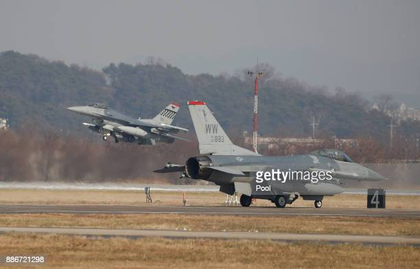 S Air Force F16 fighter jets take part in a Vigilant air combat exercise on December 6 2017 in Pyeongtaek South Korea The largestscale warplanes and...
