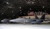 S Air Force F22 Raptor fighter jets are seen at the US air base during media session for joint military exercise between the US and South Korea at...