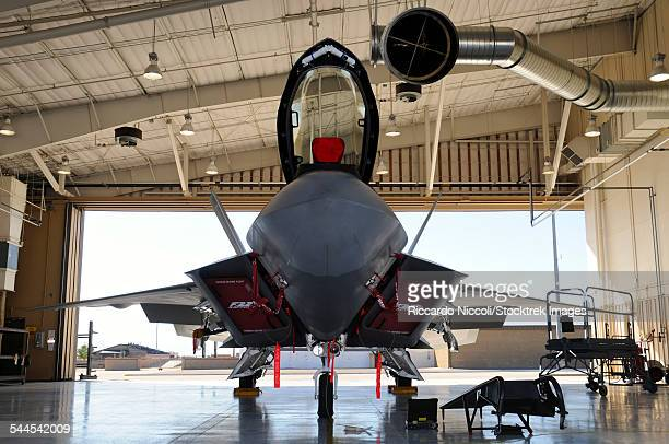 U.S. Air Force F-22A Raptor parked in its shelter at Holloman Air Force Base, New Mexico.