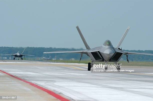 U.S. Air Force F-22A Raptor taxiing at Langley Air Force Base, Virginia.