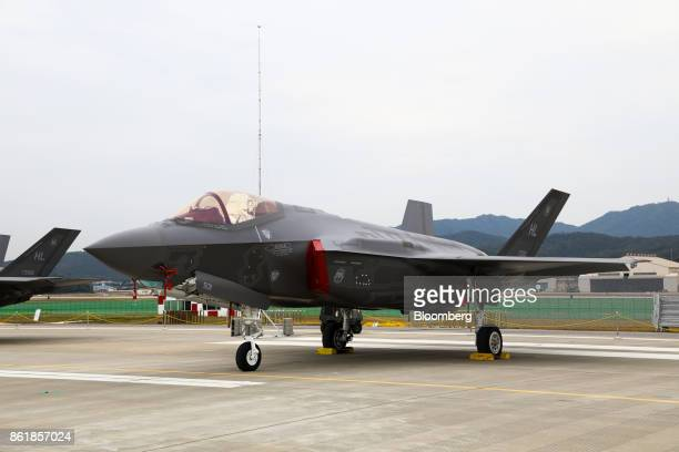 A US Air Force F35A stealth fighter jet manufactured by Lockheed Martin Corp stands on display during a press day of the Seoul International...