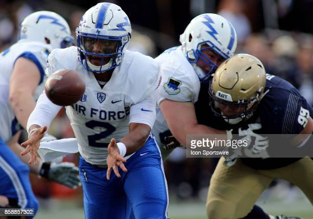 Air Force Falcons quarterback Arion Worthman pitches the ball during a match between Navy and Air Force on October 07 at NavyMarine Corps Memorial...
