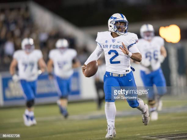 Air Force Falcons quarterback Arion Worthman runs the ball out of bounds during the game between the Nevada Wolf Pack and the Air Force Falcons on...