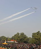 Air Force fighter planes during the 65th Republic Day parade at Rajpath on January 26 2014 in New Delhi India India adopted its democratic...