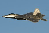Air Force Lockheed Martin F22 Raptor stealth fighter aircraft performs a demonstration flight during the inaugural Trilateral Exercise between the US...