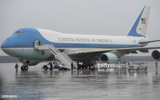 Air Force One a heavily modified Boeing 747 is seen prior to US President Barack Obama departure from Andrews Air Force Base in Maryland December 6...