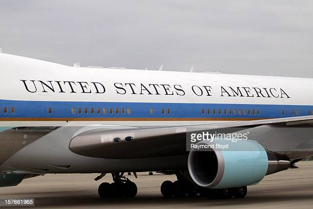 Air Force One carrying President Barack Obama taxis up the runway upon landing at O'Hare International Airport in Chicago Illinois on OCTOBER 25 2012