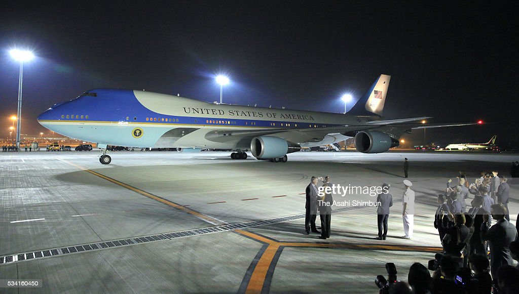 Air Force One, carrying U.S. President Barack Obama is seen at Centrair International Airport on May 25, 2016 in Tokoname, Aichi, Japan. The Group of Seven summit takes place on May 26 and 27 to discuss key global issues such as global economy and anti terrorism measures.