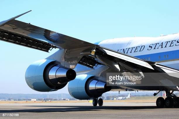 Air Force One is seen at Yokota Air Base on November 7 2017 in Fussa Tokyo Japan Trump is on 11day tour to Asia